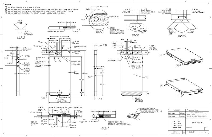 Apple blueprints offer highly detailed view of iphone 5 for Blueprint sizes