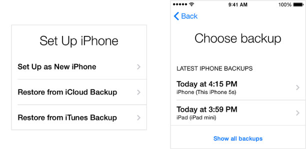 how to put a backup on new iphone