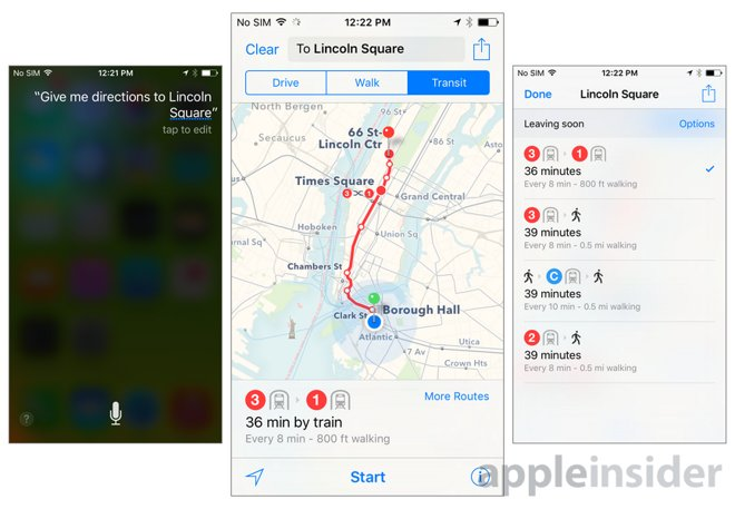 iOS 9 Maps app with transit directions