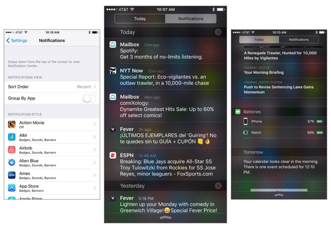 Inside iOS 9: Notification Center streamlined with app alerts sorted by date, Apple Watch battery widget, new iPad view