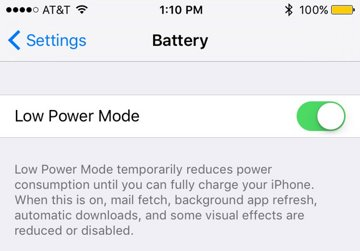 iOS 9 tips: Manually Enable Low Power Mode to Maximize Your iPhone's Battery Life