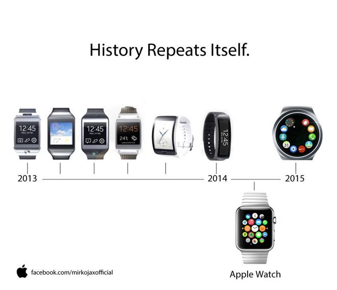 Samsung teases round smartwatch with heavy Apple Watch ...
