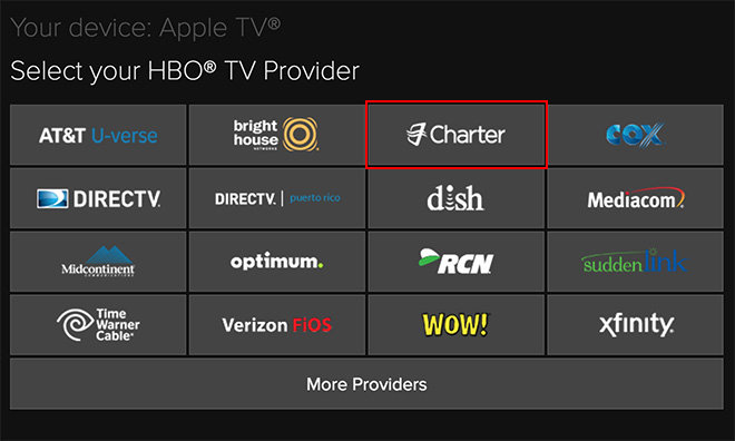 HBO GO activation page for Apple TV suggests support from Charter coming soon