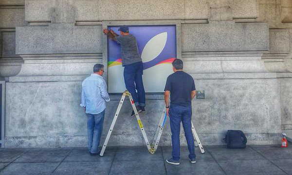 Apple installs banners, flags at Bill Graham Civic Auditorium ahead of Sept. 9 event