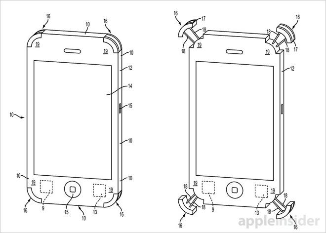 Apple si chce patentovat další ochranné nárazníky pro iPhone. S nafukovacími plovoucími polštáři!