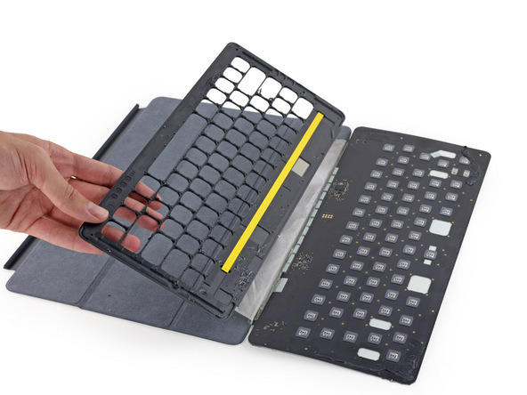 Teardown of iPad Pro Smart Keyboard shows conductive fabric, MacBook-based key design