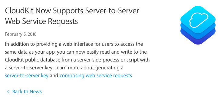 Apple adds server-to-server web service requests to CloudKit