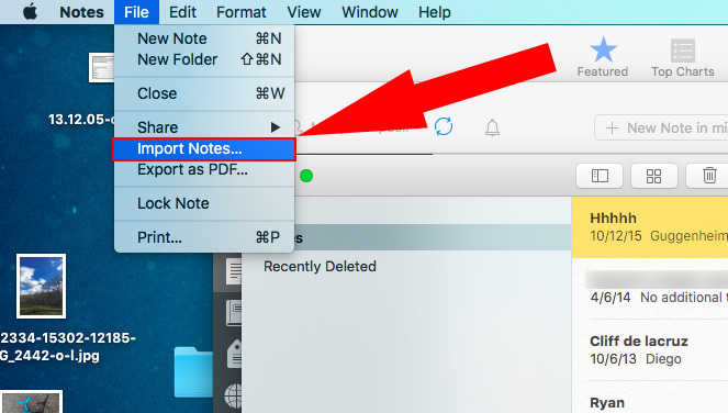 Notes for Mac to support Evernote file imports in OS X 10.11.4